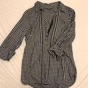 Eddie Bauer black and white check flannel tunic